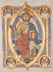 """""""Codex Bruchsal"""", Romanesque illuminated manuscript Gospel Book, c.1220. Here we can see the basic """"Majestas Domini"""" icon in one of its most common presentations; with symbols of the four evangelists depicted in the corner medallions (upper left: winged man for St. Matthew; upper right: an eagle for St. John; lower left: a winged ox symbolizing St. Mark; lower right: the winged bull symbol for St. Luke. One interesting aspect is almost always include in the Majestas Domini: the Lord's orator hand and one or both feet overlap or even extend beyond the boundary of the mandorla/full body halo."""