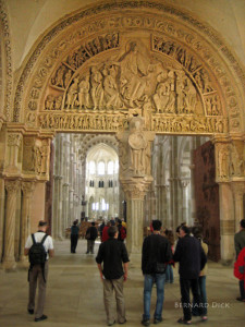 The Vezelay tympanum is in the narthex of the church, just over the door into the nave.