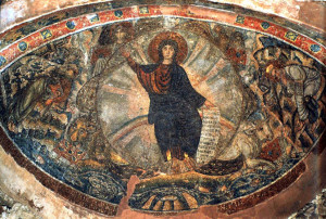 """""""The Vision of Ezekiel"""", apse mosaic in Blessed David Chapel, Thessalonica, ca. 425-50. The """"Majestas Domini"""" depicted with the Lord seated upon a rainbow is usually associated with """"Last Judgement"""" themes. (Ezekial 1: 1 - 28: """"...and from the appearance of His waist and downward I saw, as it were, the appearance of fire with brightness all around. Like the appearance of a rainbow in a cloud on a rainy day, so was the appearance of the brightness all around it [the mandorla]. This was the appearance of the likeness of the glory of the Lord"""").  The term """"Majestas Domini"""" comes from Ezekial's last sentence of his description."""