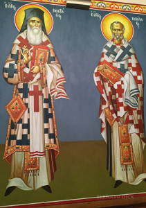 Many saints line the walls of the nave.