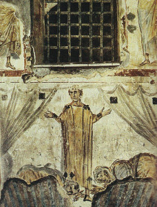 """""""Saint Cyprian"""", SS. Giovanni e Paolo, Rome. Tied to the side curtains are a common presentation of the orant image suggesting a vision of a heavenly reality."""