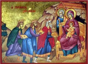 """...and going into the house they saw the child with Mary his mother, and they fell down and worshiped him. Then, opening their treasures, they offered him gifts, gold and frankincense and myrrh."""