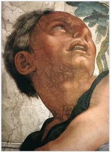 Detail of Face of Jonah on the Ceiling of the Sistine Chapel by Michaelangelo
